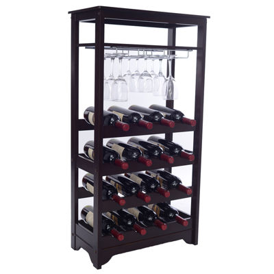 16-Bottle Wine Cabinet with Stemware Storage