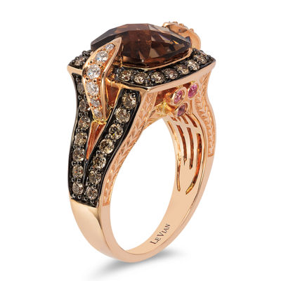 Grand Sample Sale™ by Le Vian® Chocolate Quartz®, Bubblegum Pink Sapphires™ & 1 1/5 CT. T.W. Vanilla Diamonds® and Chocolate Diamonds® Ring in 14K Strawberry Gold®