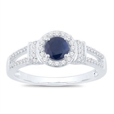 Womens 1/5 CT. T.W. Genuine Blue Sapphire 10K White Gold Round Cocktail Ring