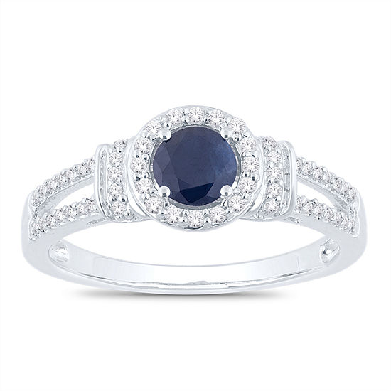 Womens 1/5 CT. T.W. Genuine Blue Sapphire 10K White Gold Round Cocktail Ring