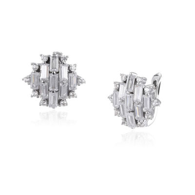 Lab Created White Sapphire Sterling Silver 13.1mm Stud Earrings