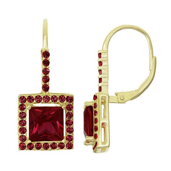 Genuine Red Garnet 14K Gold Over Silver Drop Earrings