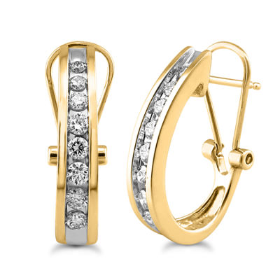3/8 CT. T.W. Genuine White Diamond 10K Gold Hoop Earrings