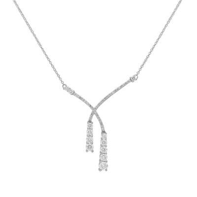 Womens 1 1/2 CT. T.W. Genuine White Diamond 10K White Gold Y Necklace
