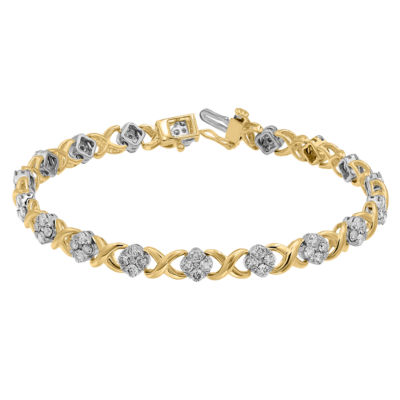 3 CT. T.W. Genuine White Diamond 10K Gold 7 Inch Tennis Bracelet