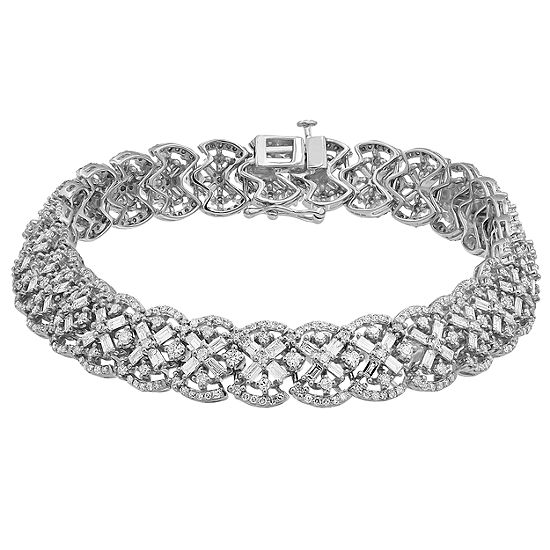 Genuine White Diamond 10k Gold 6 1 2 Inch Tennis Bracelet