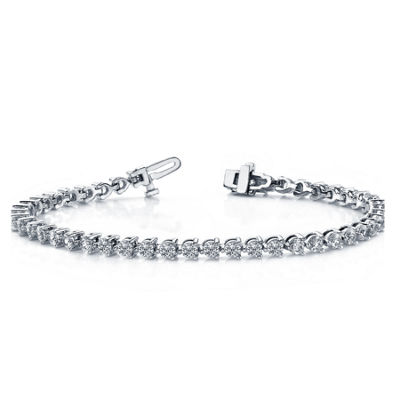 3 CT. T.W. Genuines White Diamond 10K White Gold 7 Inch Tennis Bracelet