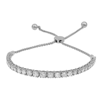 3 CT. T.W. Genuine White Diamond 10K White Gold Bolo Bracelet
