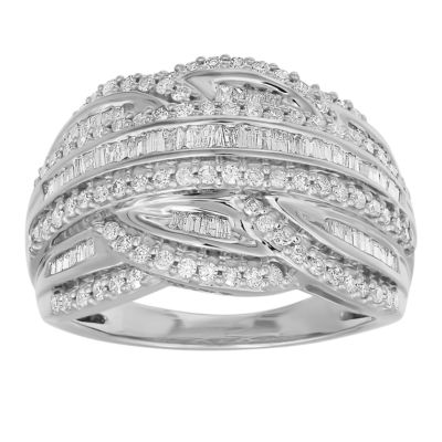 Womens 25mm 1 CT. T.W. Genuine White Diamond 10K White Gold Band