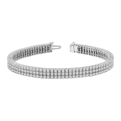 Genuine White Diamond 14K White Gold 7 Inch Tennis Bracelet