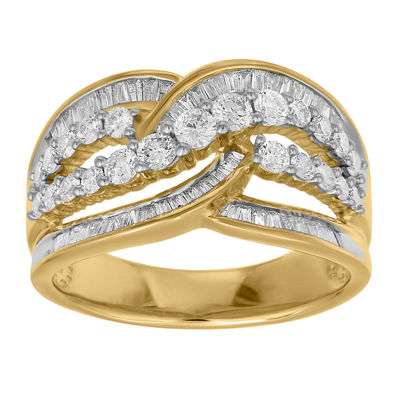 Womens 22mm 1 CT. T.W. Genuine White Diamond 10K Gold Band