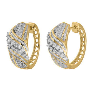 1/2 CT. T.W. Genuine White Diamond 10K Gold Hoop Earrings
