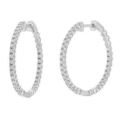 1 CT. T.W. Genuine White Diamond 14K White Gold Hoop Earrings
