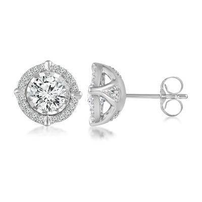 1 1/2 CT. T.W. Genuine White Diamond 14K White Gold 9.5mm Stud Earrings