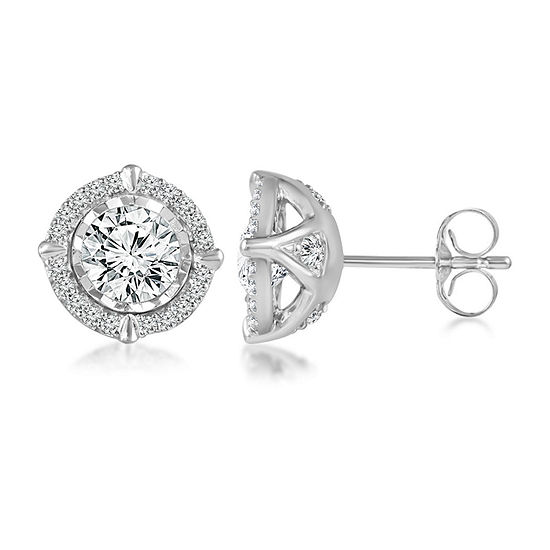 1 1 2 Ct Tw Genuine White Diamond 14k White Gold 95mm Stud Earrings
