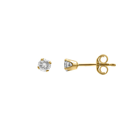 1/4 CT. T.W. Genuine White Diamond 10K Gold 3.1mm Stud Earrings