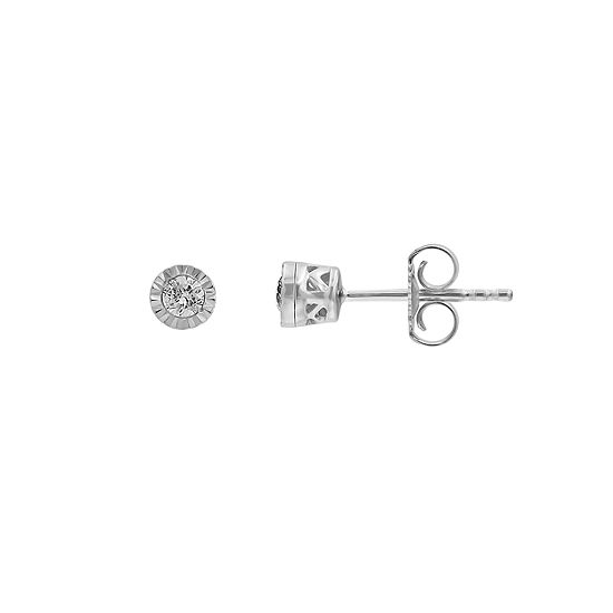 1/10 CT. T.W. Genuine White Diamond 10K White Gold 3.9mm Stud Earrings