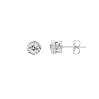 1/2 CT. T.W. Genuine White Diamond 10K White Gold 5.5mm Stud Earrings