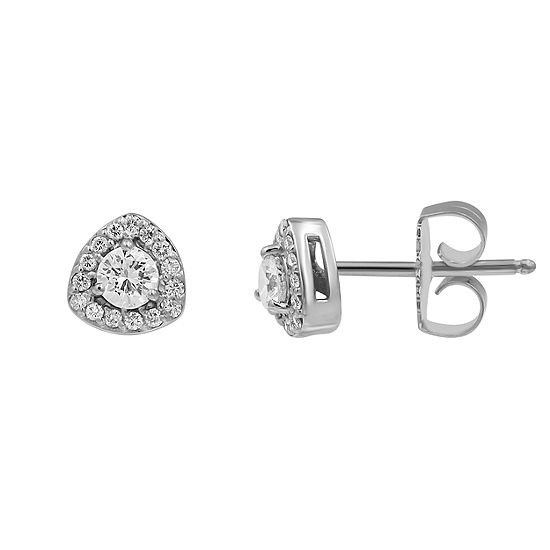 1/2 CT. T.W. Genuine White Diamond 10K White Gold 6.7mm Stud Earrings