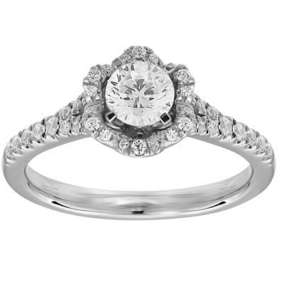 Womens 3/4 CT. T.W. Genuine White Diamond 10K White Gold Engagement Ring