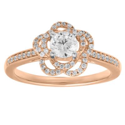 Womens 3/4 CT. T.W. Genuine White Diamond 10K Rose Gold Engagement Ring