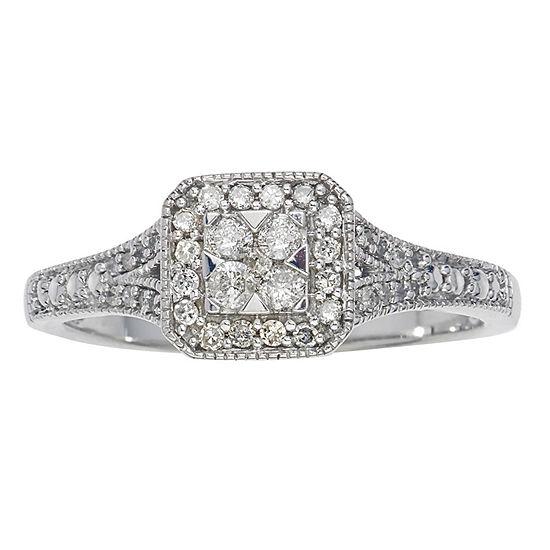 Promise My Love Womens 1/4 CT. T.W. Genuine White Diamond 10K White Gold Promise Ring