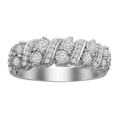 Womens 17mm 1/2 CT. T.W. White Diamond 10K White Gold Wedding Band