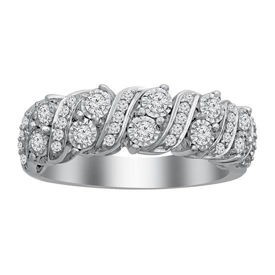 17MM 1/2 CT. T.W. Genuine White Diamond 10K White Gold Wedding Band