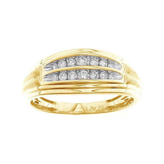 Mens 17mm 1/4 CT. T.W. Genuine White Diamond 10K Gold Wedding Band
