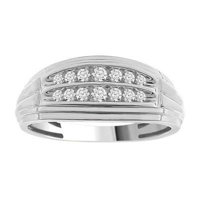 Mens 17MM 1/4 CT. T.W. Genuine White Diamond 10K White Gold Wedding Band