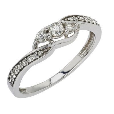Womens 1/4 CT. T.W. Genuine White Diamond 10K White Gold 3-Stone Ring