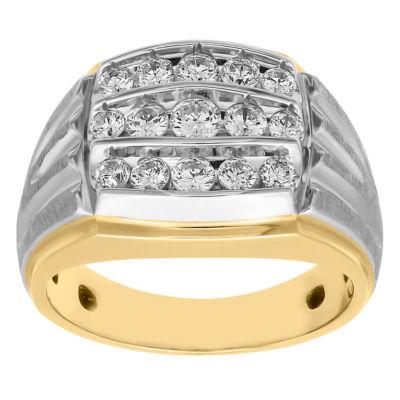Mens 1 CT. T.W. Genuine White Diamond 10K Two Tone Gold