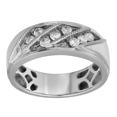 Mens 1/2 CT. T.W. Genuine White Diamond 10K White Gold