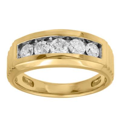 Mens 1 CT. T.W. Genuine White Diamond 10K Gold Mens Fashion Rings
