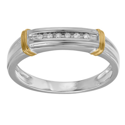 Mens 1/10 CT. T.W. Genuine White Diamond 10K Two Tone Gold
