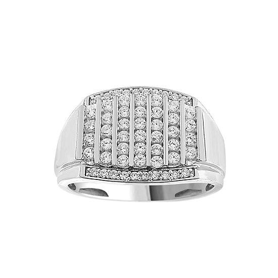 Mens 1/2 CT. T.W. Genuine White Diamond 10K White Gold Fashion Ring