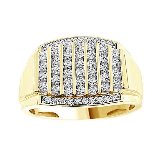 Mens 1/2 CT. T.W. Genuine White Diamond 10K Gold Fashion Rings