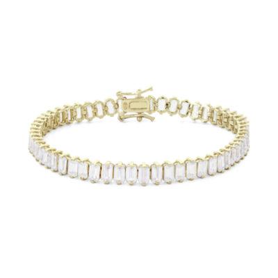 Diamonart Womens White Cubic Zirconia Sterling Silver Gold Over Silver Tennis Bracelet