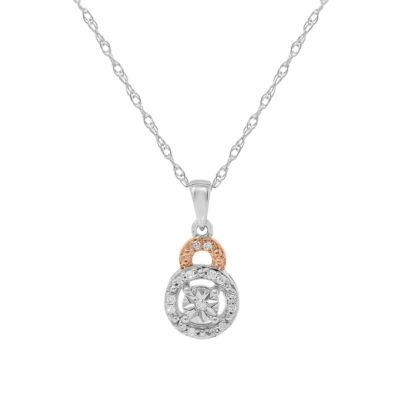 Womens 1/10 CT. T.W. Genuine White Diamond 10K Rose Gold Over Silver Pendant Necklace