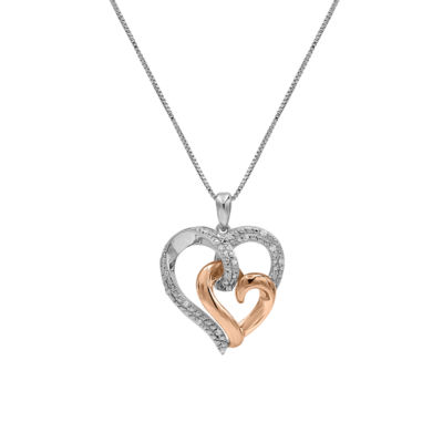 Womens 1/10 CT. T.W. Genuine White Diamond 10K Rose Gold Over Silver Heart Pendant Necklace