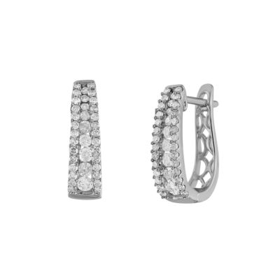 3/4 CT. T.W. Genuine White Diamond Sterling Silver 20mm Hoop Earrings