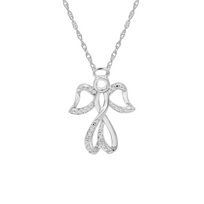 Womens 1/10 CT. T.W. Genuine White Diamond Sterling Silver Pendant Necklace