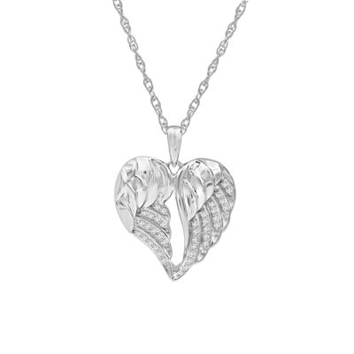 Womens 1/7 CT. T.W. Genuine White Diamond Sterling Silver Heart Pendant Necklace