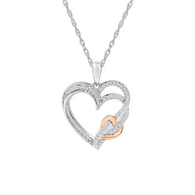 Womens 1/5 CT. T.W. Genuine White Diamond 10K Rose Gold Over Silver Heart Pendant Necklace
