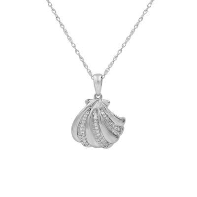 Womens 1/8 CT. T.W. Genuine White Diamond Sterling Silver Pendant Necklace