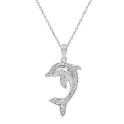 Womens 1/6 CT. T.W. Genuine White Diamond Sterling Silver Pendant Necklace