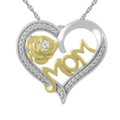 Womens Diamond Accent Genuine White Diamond 10K Gold Over Silver Sterling Silver Heart Pendant Necklace