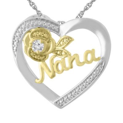 Womens Diamond Accent Genuine White Diamond 10K Gold Over Silver Sterling Silver Heart Pendant Necklace