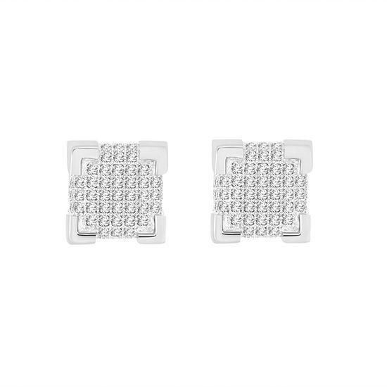 3/8 CT. T.W. White Diamond Sterling Silver 7.8mm Stud Earrings