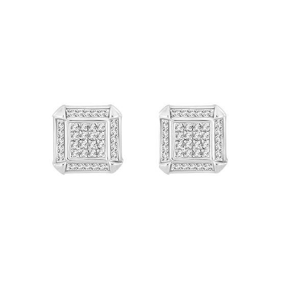 1/5 CT. T.W. White Diamond Sterling Silver 8.7mm Stud Earrings